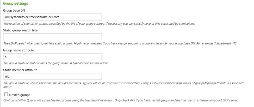 splunk ldap search access controls
